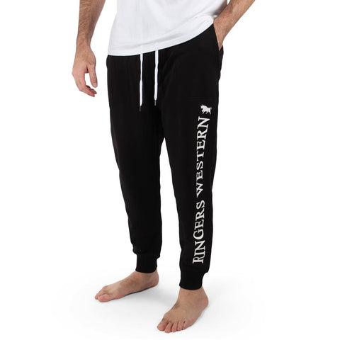 Texas Mens Trackpants - Black with White Print