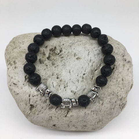 Lava Rock Healing Bracelet with 3 Elephant Charms