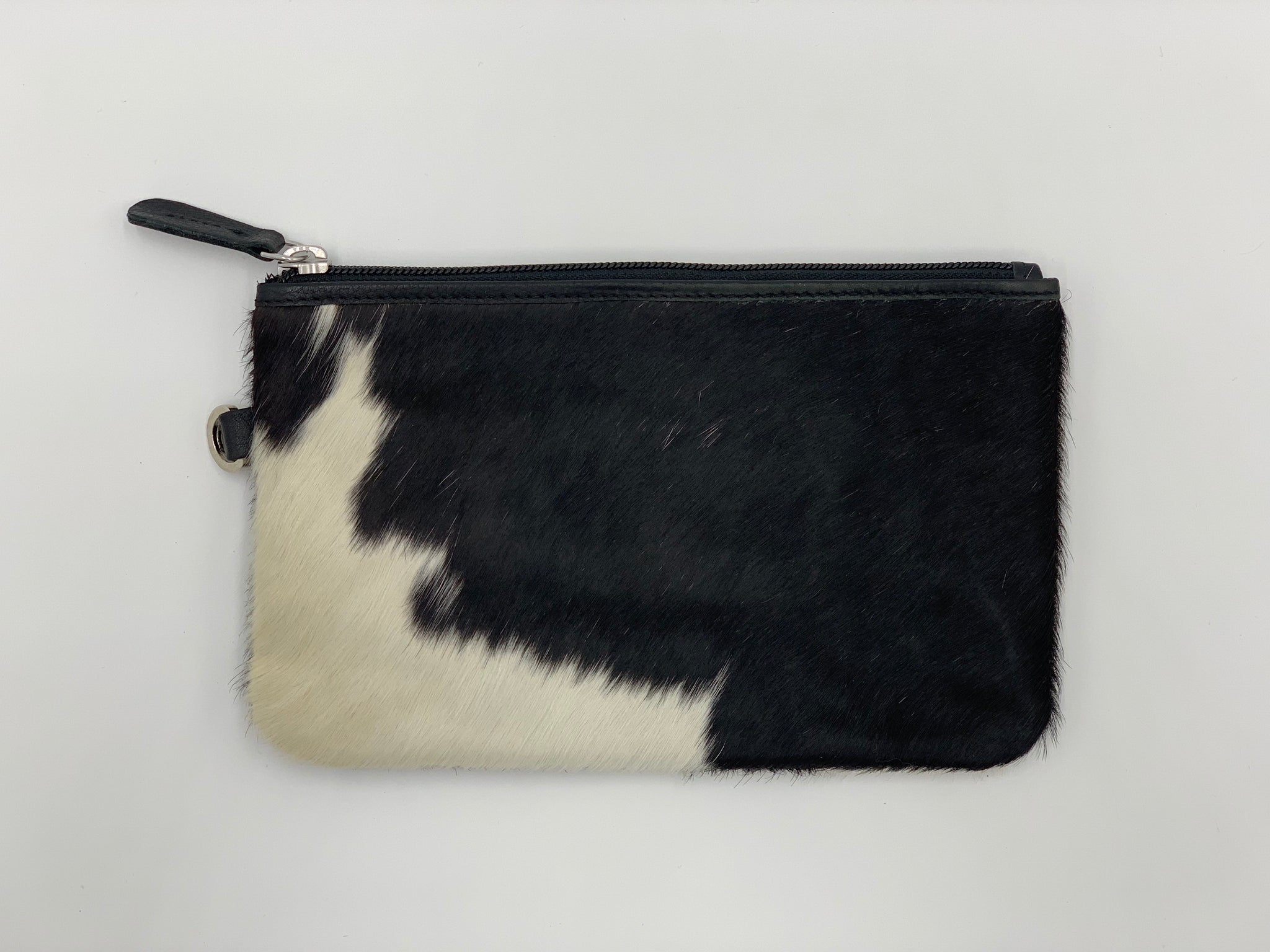 Clara | Black & White Cowhide Clutch
