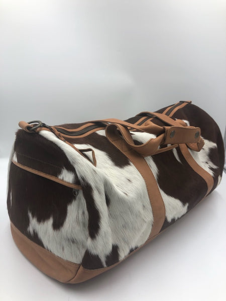 Domenique | Tan & White Cowhide Travel Bag