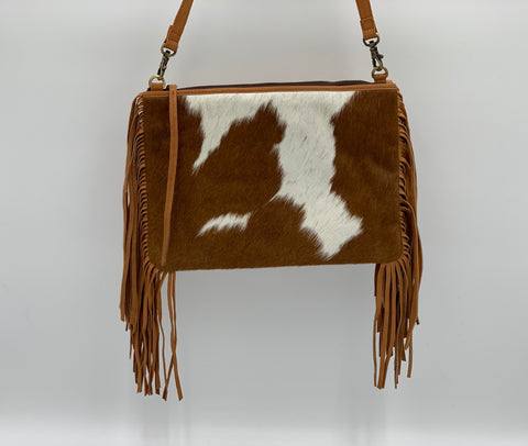 Claudine | Tan & White Cowhide Bag