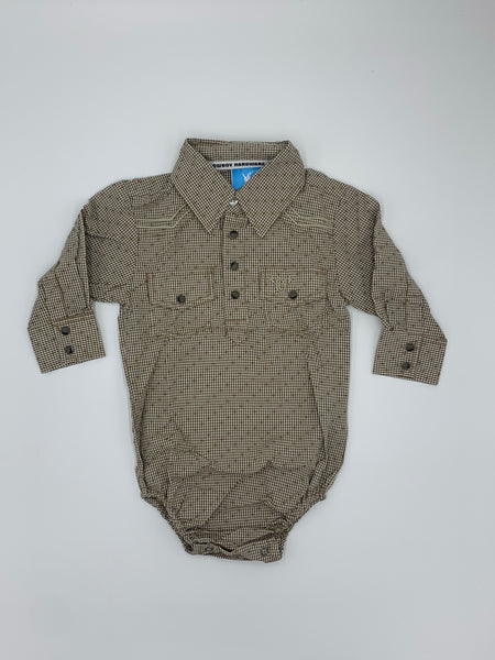 Infant | Dobby L/S Plaid Romper