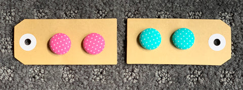 Polka Dot Fabric Stud