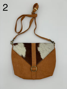 Mila | Tan & White Cowhide Sling Bag