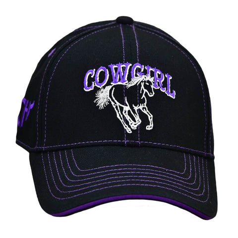 Infant/Toddler Girl's Cowgirl Horse Purple/Black Velcro Cap