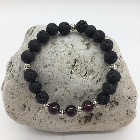 Lava Rock and Red Garnet Stone Healing Bracelet