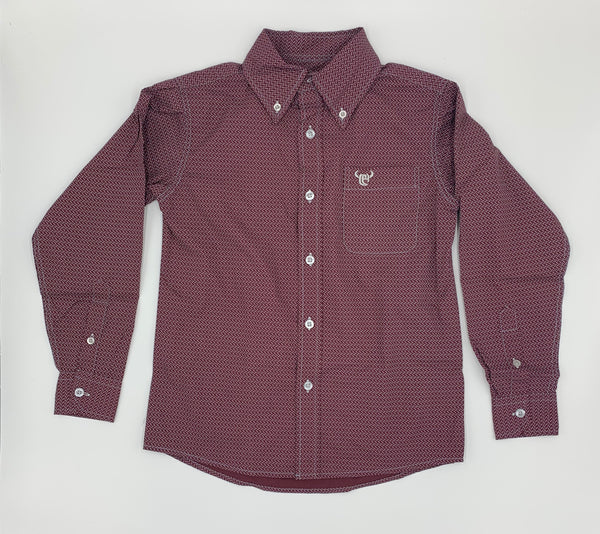 Yth | Little Zig L/S Print Shirt w/ Buttons