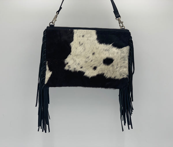 Claudine | Black & White Cowhide Bag