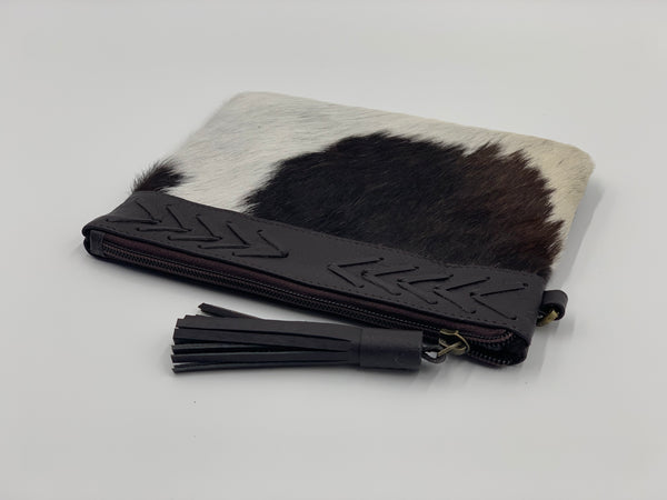 Gisele | Chocolate & White Cowhide Clutch