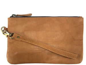 Clara | Tan Leather Clutch