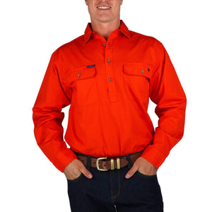 Ringers Western | King River Half Button Shirt- Red