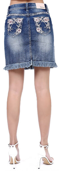 Grace in LA | Floral Embroidered Frayed Denim Skirt | JKW-81325