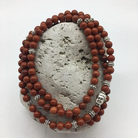 Red Jasper Stone Bracelet with Buddha Charm
