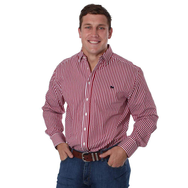 Ringers Western | Caulfield Mens Semi Fitted Stripe Shirt Red Stripe