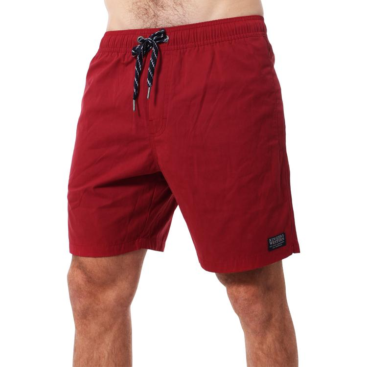 RINGERS WESTERN | Monkey Mia Mens Elastic Waist Pull On Swim Short | Red Brick