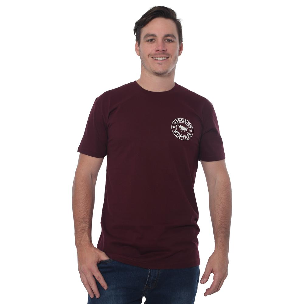 Ringers Western | Signature Bull Mens Classic Fit T-Shirt - Burgundy with Natural Print