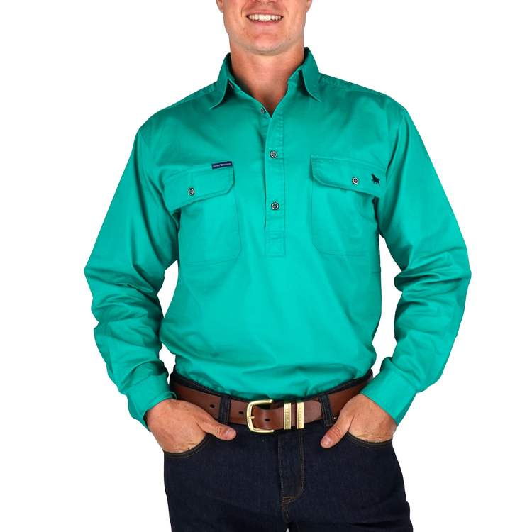 RINGERS WESTERN | King River Half Button Work Shirt | Green