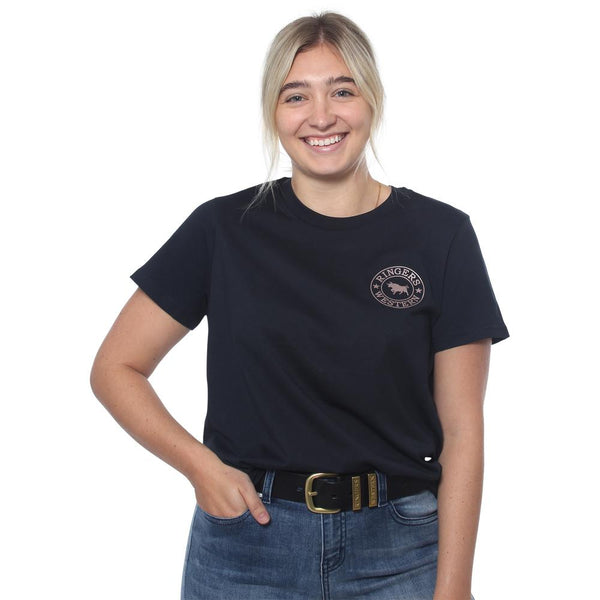 Ringers Western | Signature Bull Womens Loose Fit T-Shirt - Navy with Rose Gold Print