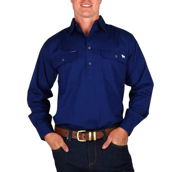 RINGERS WESTERN | King River Half button Work Shirt | Navy
