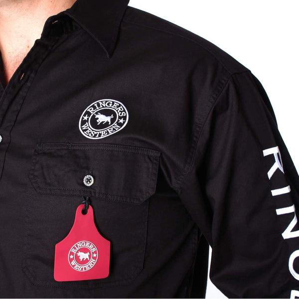 Ringers Western | Hawkeye Mens Full Button Work Shirt Black