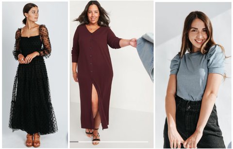 from left to right: black dress with sheer puffy sleeves, maroon smock dress with jean jacket, and aqua puffy sleeve tee with black jeans