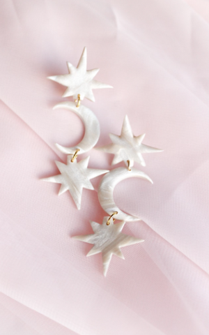 athena dangle in mother of pearl, star moon star pattern