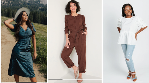 from left to write, teal ruched dress, maroon utility jumpsuit, white blouse and jeans