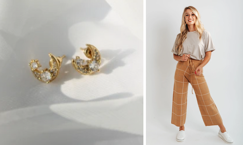 shimmery gold moon studs and caramel pants with cream top