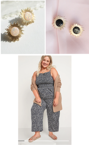 Avrill Stud in Night and Opal with black jumpsuit