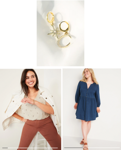 Mix and Match earring hoops, star and moon with denim dress outfit