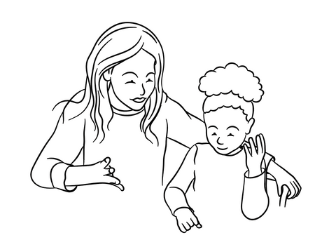 Mother counting with daughter illustration drawing