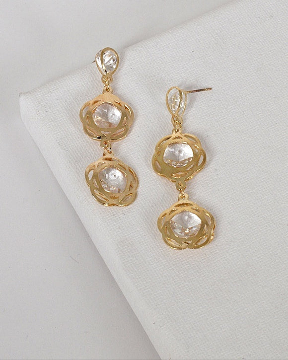 Crystal Accented Twin Floral Danglers - Volumptuous Online Boutique