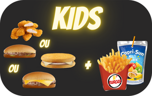 MENU ENFANT - HAMBURGER ou CHEESEBURGER ou CROC ou 4 NUGGETS + 1 frite + 1 boisson