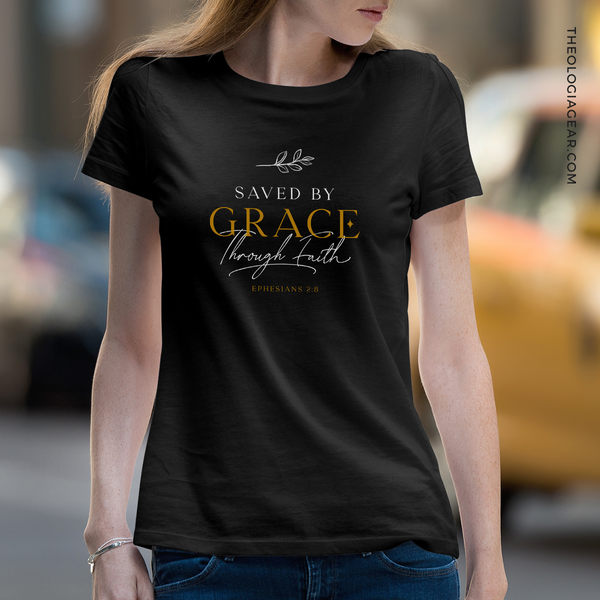 Saved by Grace | Ladies' Dark T-Shirt