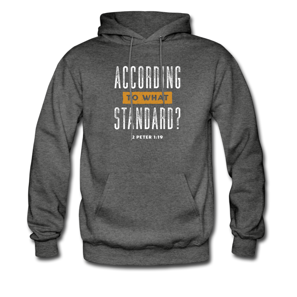 According To What Standard | Men's Dark Hoodie - charcoal gray