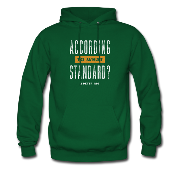According To What Standard | Men's Dark Hoodie - forest green