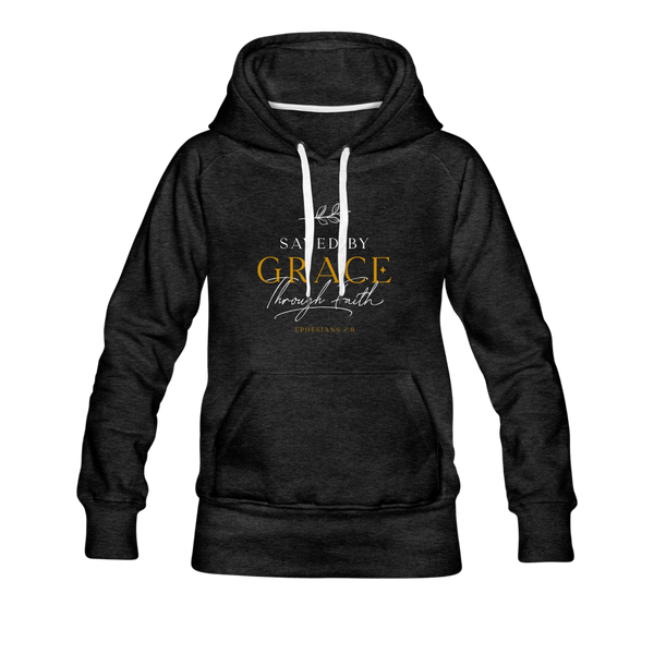 Saved by grace | Women's Premium Hoodie - charcoal gray