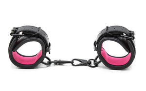 Pink and Black Leather Handcuffs