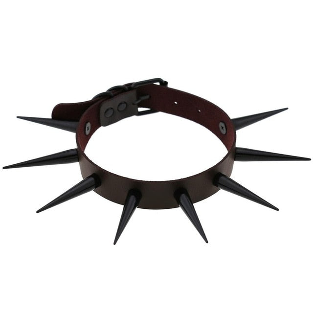 Long Spiked Choker Anodized Black
