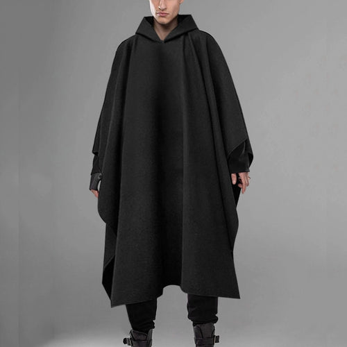 Hooded Solid Poncho Cloak