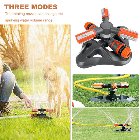 Image of BLUEKIEE™ 360 Degree Rotating Garden Sprinkler 3 Arms Nozzles Automatic Plastic Triangle Sprinkler Rotary Irrigation Tool