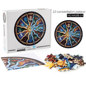BLUEKIEE™ Round Jigsaw Puzzle 1000 Piece for Adults- Zodiac Horoscope Puzzle- DIY Constellation Circular Jigsaw Puzzles Cool and Challenge
