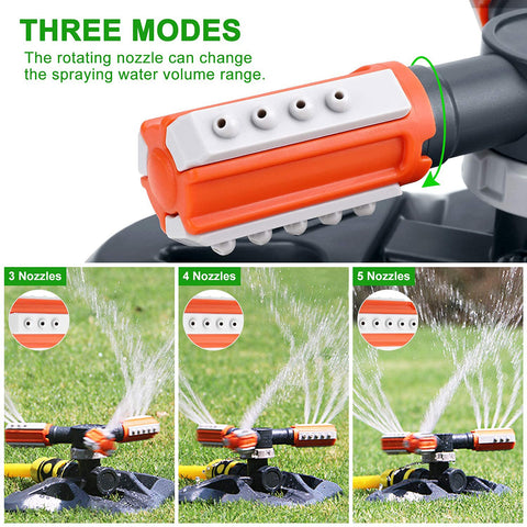 BLUEKIEE™ 360 Degree Rotating Garden Sprinkler 3 Arms Nozzles Automatic Plastic Triangle Sprinkler Rotary Irrigation Tool