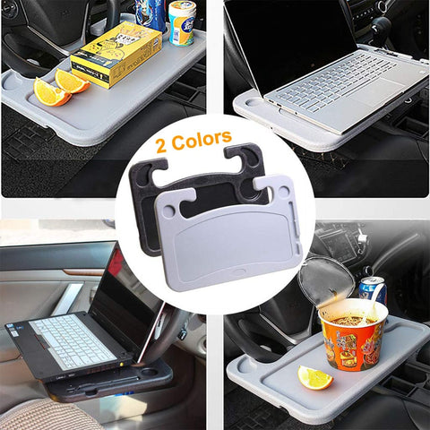 BLUEKIEE™ Auto Steering Wheel Desk, Laptop, Tablet, iPad Or Notebook Car Travel Table, Food Eating Hook On Steering Wheel Tray, for Constant Travelers, Fits Most Vehicles Steering Wheels