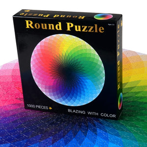 BLUEKIEE™ Colorful Rainbow Round Jigsaw Puzzle Paper 1000 pcs/set Geometrical Photo Puzzle Adult Kids DIY Educational Reduce Stress Toy
