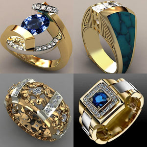BLUEKIEE™ 2021 New Blue White Zircon Stone Ring Male Female Yellow Gold Wedding Band Jewelry Promise Engagement Rings For Men And Women