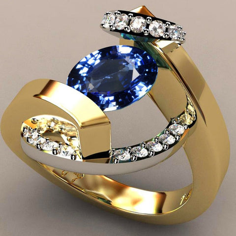 Image of BLUEKIEE™ 2021 New Blue White Zircon Stone Ring Male Female Yellow Gold Wedding Band Jewelry Promise Engagement Rings For Men And Women