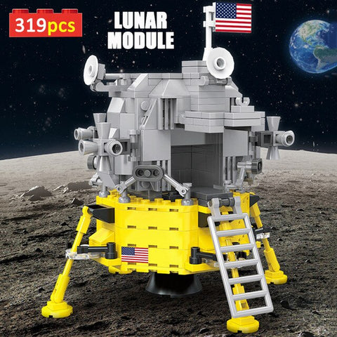 BLUEKIEE™ Creator Expert Series Space Exploration 319+pcs Apollo Lunar Module Building Blocks Ideas Bricks Toys For Kids Adults Xmas Gifts