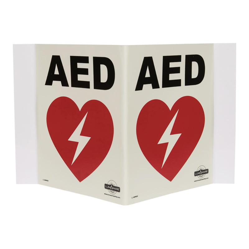 Illuminating AED sign panoramic, Highly Durable rigid PVC Plastic AED sign, Safety Markings, Egress and Stairwell Solutions, Safety Information in Blackout