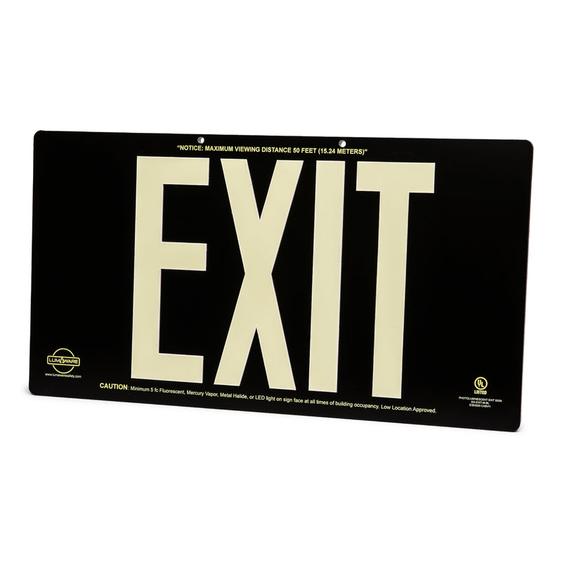 Black Poly-Metal Emergency Exit Sign, LED compliant exit sign, Alternative exit signs, energy free exit signs, Photoluminescent Exit Signs, Electric Sign Alternative, UL924 Emergency Exit Sign, Electric Exit Signs